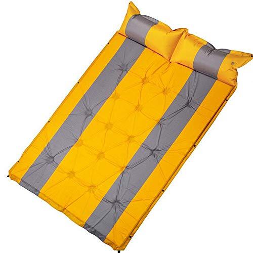LAIABOR Outdoor Doppel-automatische aufblasbare Kissen 18 Punkte können genäht Zelt Campingmatte,Yellow