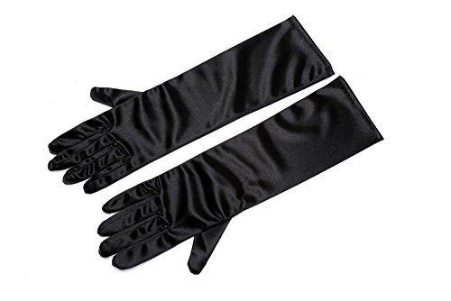 UTOPIAT Frauen schwarz Satin Handschuhe - Ellenbogen lange Oper Länge - Frühstück bei Tiffany Kostüm (unten-Ellenbogen) (Ellenbogen Öffnung)
