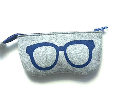 Gütersloher Shopkeeper Reissverschluss Tasche Etui Hülle Filz grau-blau geeignet für Brille, Sonnenbrille oder Handy Apple iPhone 6s 7 8, Apple iPhone X/XR