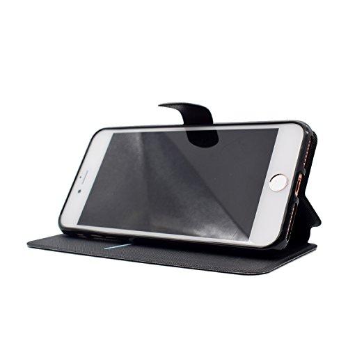 Coque iPhone 7 Plus, ocketcase® Housse Étui en PU Cuir Portefeuille Flip Cover avec Fermeture Magnétique et Support Fonction Housse Case pour iPhone 7 Plus - renard image inversée
