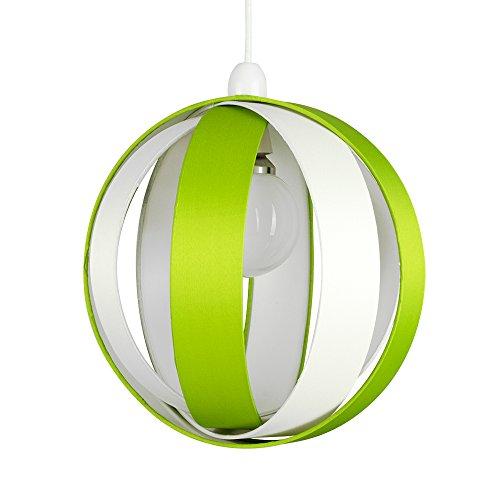 MiniSun Abat-Jour Abats Jour pour suspension. Combinasion de Tissu Vert et Tissu Crème - 4 Tambours Sous la Forme d'une Balle. Très Contemporain. Adapté pour douille de 28 mm