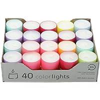 Wenzel-Kerzen Summer Edition Colorlights Teelichte mit Langer Brenndauer 100% Paraffin Bunt, Höhe 24 mm Durchmesser 38 mm