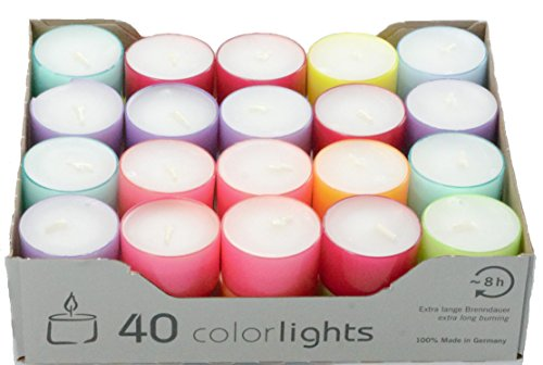 Wenzel-Kerzen 23-219-40-UK Summer Lights, velas de combustión 8 horas, PC fundas crazy Mix, Multicolor