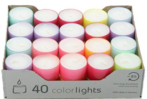 Edition Colorlights Teelichte mit Langer Brenndauer, 100% Paraffin, Bunt, Höhe 24 mm Durchmesser 38 mm ()