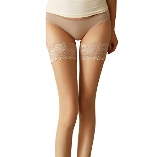 Gemini_mall Women's Sexy Lace Top Sheer Hold Ups Stockings Thigh High Tights Black Test