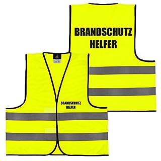 Warnweste Gelb Orange, beidseitig bedruckt auf Brust und Rücken mit Ordner, Security große Auswahl Motive Aufdrucke 019 Brandschutzhelfer (Gelb) XXL