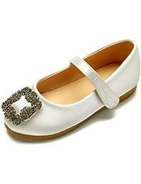 91829aaeaa32b Zxstz Chaussures pour Filles Satin Printemps et Eté Ballerina Flower Girl  Chaussures Flats Sparkling Glitter Boucle