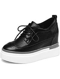 2017 nueva de cuero en el interior del aumento en los zapatos con los zapatos casuales zapatos gruesos aflojados los zapatos impermeables individuales , black , 6