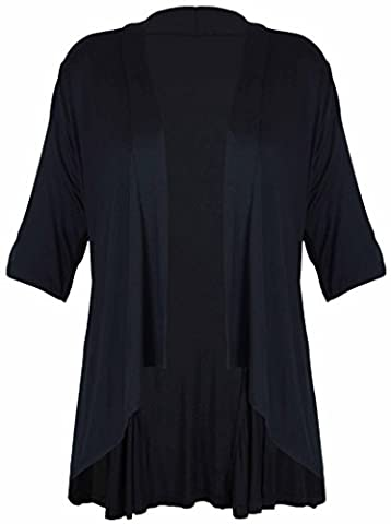 New Ladies Short Sleeve Plus Size Open Waterfall Cardigan Womens Plain Stretch Fit Top Black Size 16