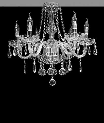 6 Arm Kronleuchter (BMQXX DST Marie Therese 6 Arme Kronleuchter, Klar Kristall und Glas Deckenleuchte Kronleuchter D 58cm H 53CM)