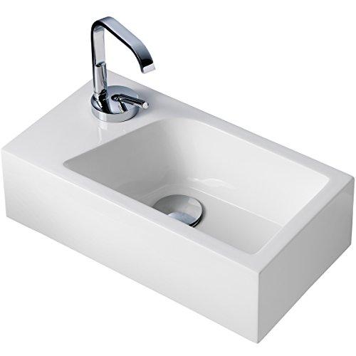 Stilform Mini Waschtisch Gäste WC Waschbecken für Wandmontage Mineralguss Links oder Rechts Handwaschbecken Klein, Weiß