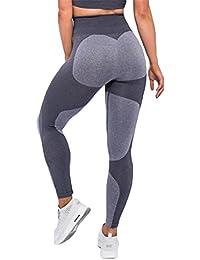 Kootk Damen Yoga Leggings Pants Sporthose Skinny Leggins Fitness Stretch Hose Jogging Sport Gym Laufhose Lang Hosen Trainingshose Sexy Strumpfhosen Lila Grau S - L