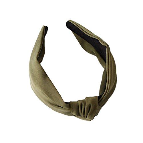 Jiamins Damen Stirnbänder Breit Haarbänder Turban Verdreht Vintage Lässige Bow Knot Einfarbig Haarschmuck (Dunkelgrün)