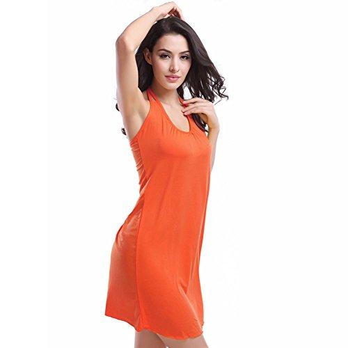 Pinkyee Damen Vintage Doppel-Schulterträger V-Ausschnitt Crochet Beach Kleid Orange