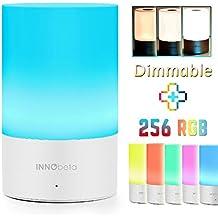 Lámpara de mesa (LED) color blanco - InnoBeta LED Lámpara Recargable de Escritorio Portátil - Modo Automático de Cambio de Color, 3 Niveles del brillo blanco caliente, un buen regalo. [Clase de eficiencia energética A]