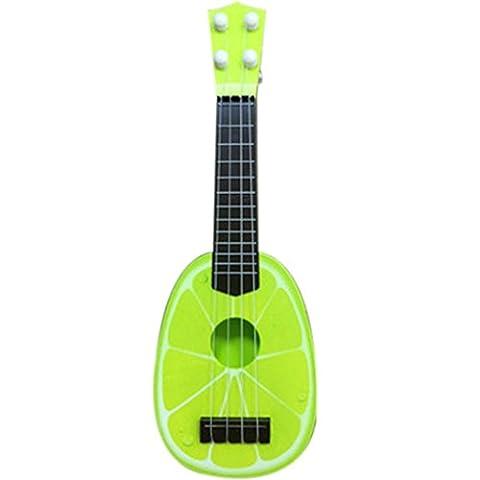 Kolylong Ukulélé soprano traditionnel Naturel Hawaï - Fruit Instruments à cordes - ukulele pour débutants, enfant fille 3 ans, 10 ans (Jaune)