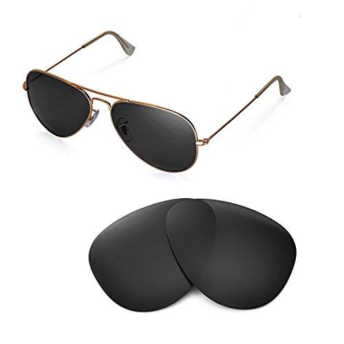 Walleva Ersatzgläser für Ray-Ban Aviator Large Metal RB3025 58mm Sonnenbrille - Mehrfache Optionen (Schwarz - polarisiert)