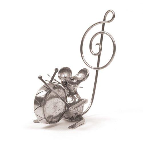 Souris Grosse Caisse Miniature - Porte-Photo - Etain 95,5% - Fabriqué en France - Objet déco - Cadeau musique