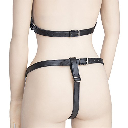 Damen SM Bondage Körper Brust Öffnen Leder Körper Harness Fetisch Bondage Anzug Reizwäsche mit Slips