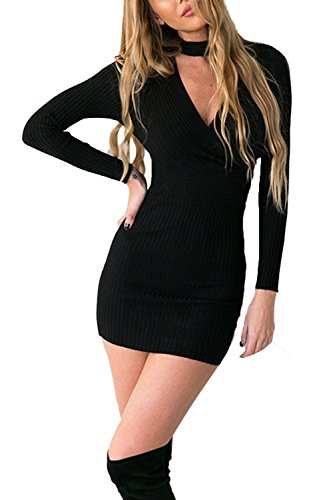 Minetom Donne Scollo a V Maglione Knit da Donna Abito Mini Invernale Sweater Manica Lunga Dress Slim Vestito da Sera Nero IT 40