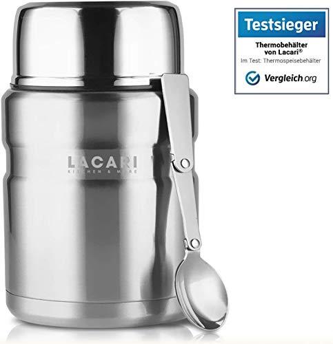 Lacari ® [500ml] auslaufsicherer Thermobehälter in [Silber] für Essen und Flüssigkeiten - Warmhaltebox mit Löffel & Soßenfach - BPA Frei
