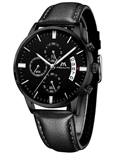 Montre Homme Montre Etanche Sport Chronographe Mode Date Calendrier Montres Bracelet en Cuir Décontractée Quartz Analogique