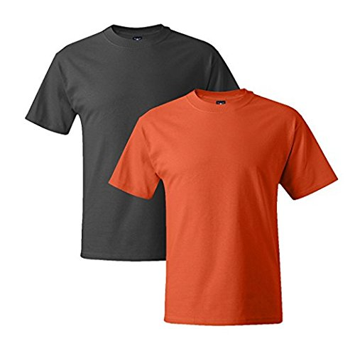 Hanes Mens 5180 Short Sleeve Beefy T 1 Orange / 1 Smoke Grey