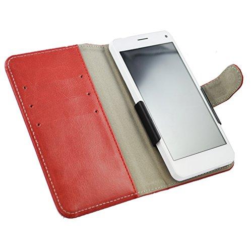 Slide Tasche Hülle Case Cover Schutz Cover Etui Rot für Archos 40 Neon
