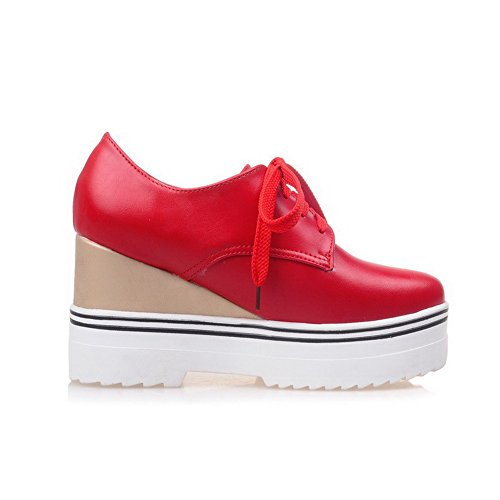 AllhqFashion Femme Pu Cuir Couleur Unie Lacet Rond à Talon Haut Chaussures Légeres Rouge