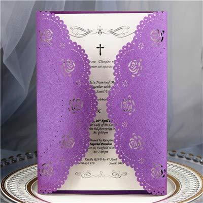 Dodom Burgund Karte Einladung zur Hochzeit Geburtstag Rose Laser Geschenkkarte personalisierte Druck 50pcs, Burgund, ganze Reihe (Burgund Hochzeit Einladungen)