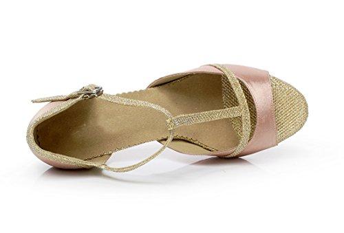 Minitoo da donna T-Strap satinato con brillantini, elegante sala da ballo scarpe da ballo Beige