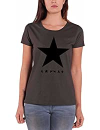 David Bowie T Shirt Blackstar Official Womens Skinny Fit Grey