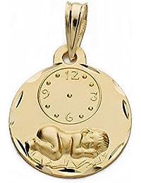 Medalla oro 9k niño reloj 15mm. marca horaria nacimiento [AA1746GR] - Personalizable - GRABACIÓN INCLUIDA EN EL PRECIO