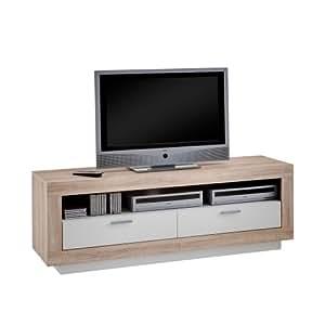 FMD 229-001_ei Center Meuble TV/Hi-Fi avec 2 Portes Panneaux Mélaminiques Chêne/Blanc 41,5 x 150 x 53 cm