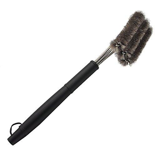 yapeach Grill Reinigungsbürste,-in Safe 45,7cm Edelstahl Draht eingezogen Reiniger mit stabile Triple Kopf (schwarz) - Vertikale Stahl-flüssigkeit