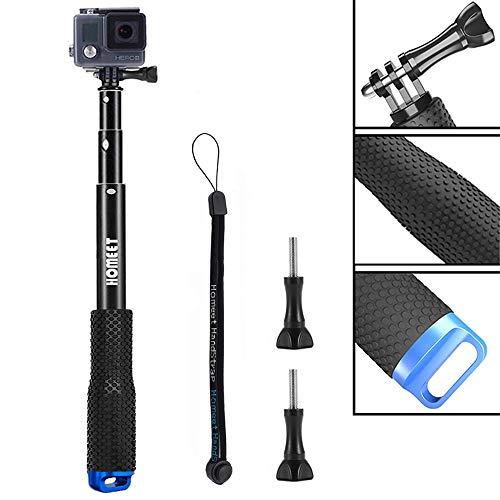 Homeet Selfie Stick für GoPro, 49CM ActionCam Stick Erweiterbar Self Portrait Wasserdicht Einbeinstativ für SJCAM, Akaso, Garmin Virb, YI 4K, Victure, Qumox, Crosstour, Apeman, für Surfen, Tauchen