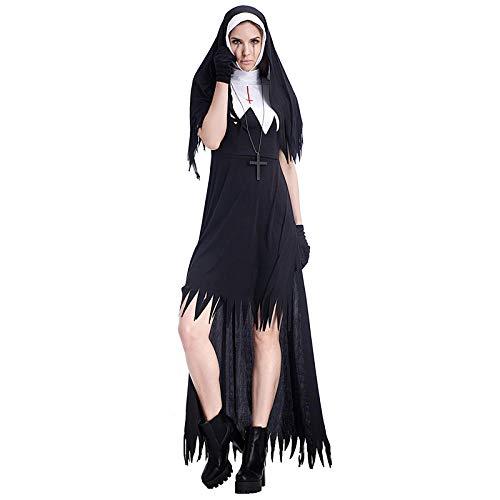 Klassische Erwachsene Nonne Für Kostüm - Averyshowya Kleidung für Erwachsene Halloween Nonne Kostüm Damen Schwarz Kleid Party Weiblich Erwachsene @ Black_M
