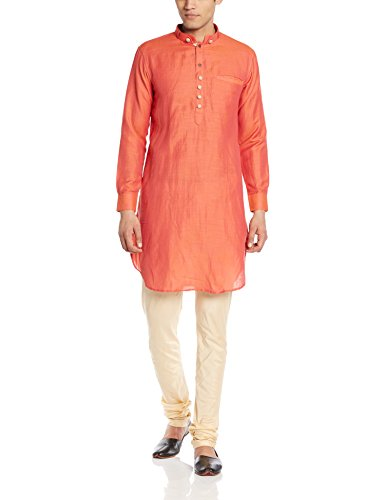 Manyavar Men's Mid-Thigh Cotton Kurta (8903035339591_ML11774-318-M_Orange)