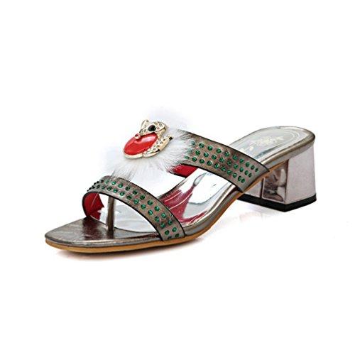 JRenok Womens Strass Riemchen Slide Flip Flop Sandalen Fur Blockabsatz Plattform Sparkly Dress Wedges ()