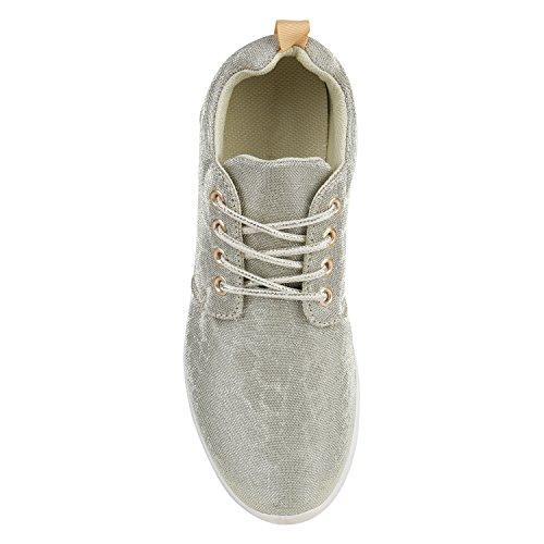 Damen Sportschuhe Übergrößen Trendfarben Runners Sneakers Laufschuhe Fitness Prints Flandell Gold Glitzer