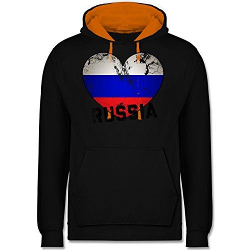 Fußball-WM 2018 - Russland - Russia Herz Vintage - Kontrast Hoodie Schwarz/Orange