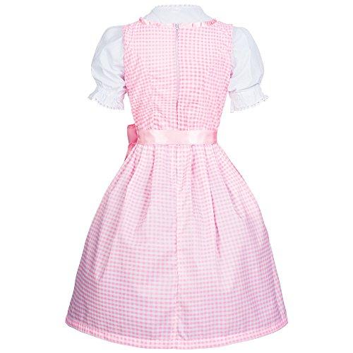 Dirndl Set 3 tlg. Trachtenkleid kariert in verschiedenen Farben in Größe 34 bis 46, der Marke Gaudi-Leathers pink weiß kariert