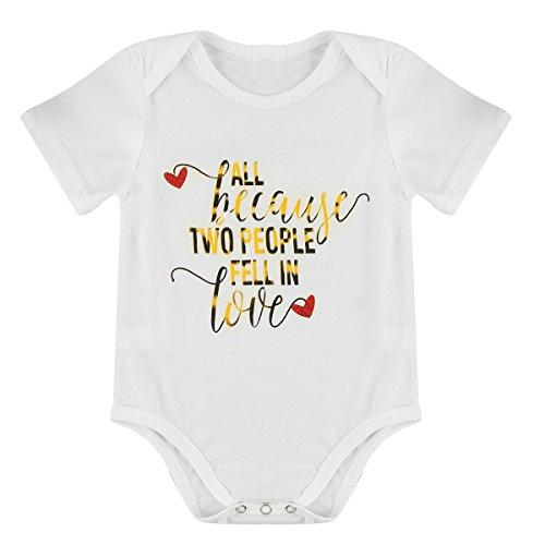 All Because Two People Fell In Love Baby Jungen Mädchen Kurzarm Body Spieler Kleidung Weiß 3-6 Monate