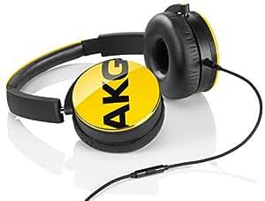 AKG Y50 Cuffie Portatili Pieghevoli con Cavo Rimovibile, Controllo Remoto Volume/Microfono, Compatibili con Dispositivi Apple iOS e Android, Giallo