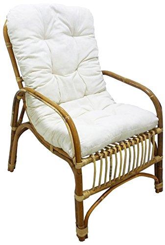 Sf savino filippo sedia poltrona manao in vimini bambù rattan naturale con cuscino salotto casa