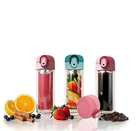 TENTA Kitchen Double Wall Glass Easy-Open Bottle Mug Tumbler,Tea Infuser, Fruit Infusion Glass Bottle & Coffee Brewer with Built-in and Seal-Well Leaf Filter - 300ml - 10oz (1pc,Pink)