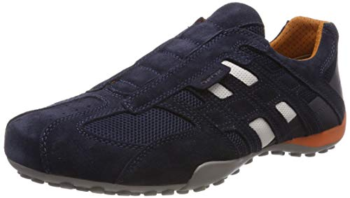 Geox Herren Uomo Snake L Sneaker, Blau (Navy C4002), 45 EU - Patent Leder Slip