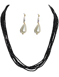 Aashya Mayro Pearl And CZ Diamond Earring And Black Pearl Necklace Set
