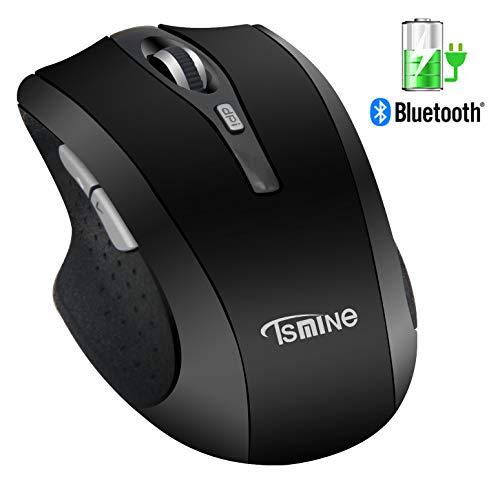 Bluetooth Silent Wireless wiederaufladbare Maus - Tsmine wiederaufladbare kabellose optische Maus für PC, Mac und Android OS Tablet (nicht für iPhone oder iPad), 3 einstellbare DPI, 6 Tasten - Schwarz