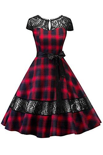 Damen 50er Jahr Kleid Vintage Baumwolle Kleid mit Spitze Partykleid Cocktailkleider Abendkleid (Rot, Gr.S) (90er Jahre Langarm)